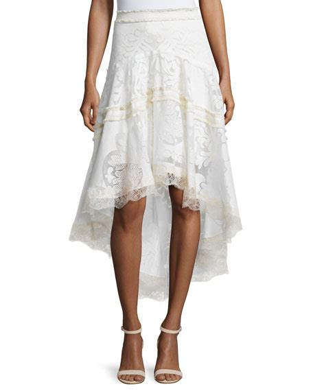 embroidered high low skirt pearl white