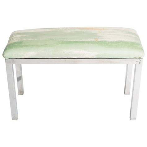 mid century upholstered bench mid century chrome and upholstered bench for sale at 1stdibs