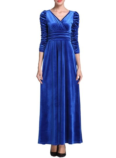 Ruffles Velvet Maxi Dress Formal solid color velvet v neck ruffled prom dress asvogue
