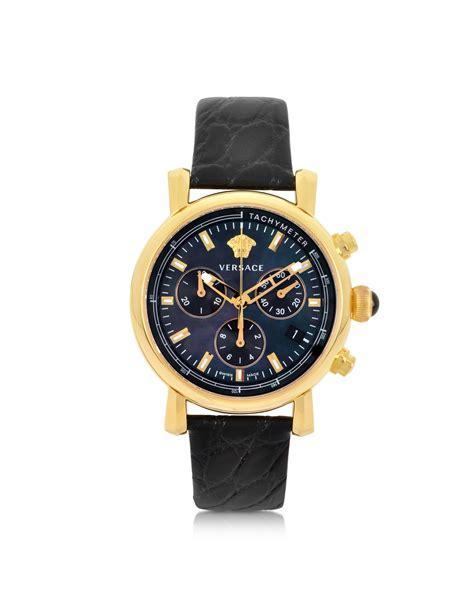versace black and gold s chronograph in black