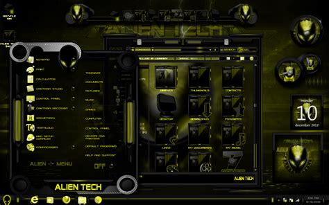 gold themes free download windows 7 themes alien tech in yellow by tono3022 on