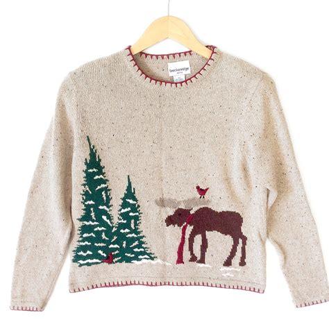 Sweater Cardinal moose and cardinal tacky sweater the