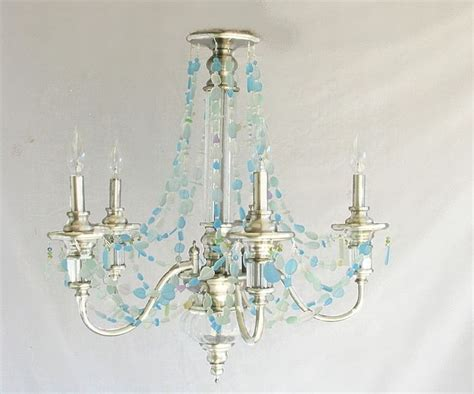 Sea Glass Chandeliers Sea Glass Chandelier Coastal Decor Lighting Fixture Nickel Finish Glass Chandelier