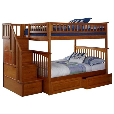 full over full bunk beds with storage atlantic furniture columbia full over full staircase