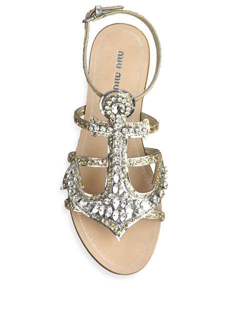 Sandal Flat Miu Miu miu miu anchor flat sandals in metallic lyst