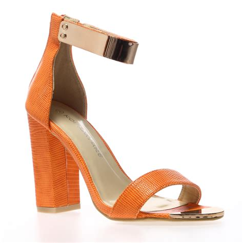 orange strappy sandals womens orange snake print ankle cuff strappy block