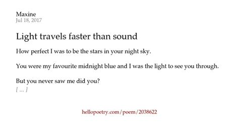 Does Light Travel Faster Than Sound by Light Travels Faster Than Sound By Maxine Hello Poetry