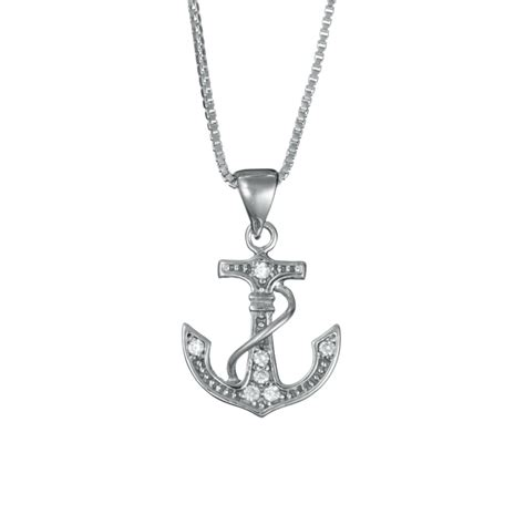 sterling silver anchor necklace with cz landing company