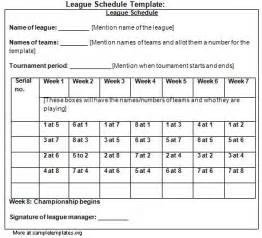 5 team league schedule template schedule template for league exle of league schedule