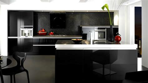 black gloss kitchen cabinets 15 black and gray high gloss kitchen designs home design