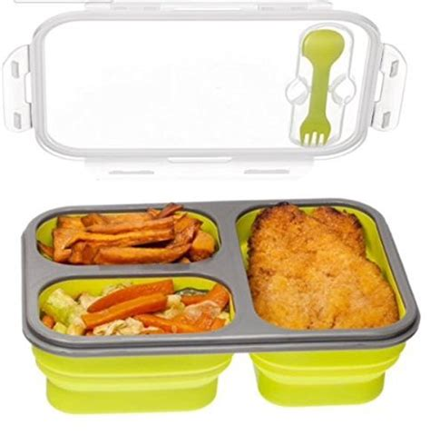 Chicken Tray Tray Lunch Box 3 compartment food container with lid bento lunch box leak proof microwave safe silicone