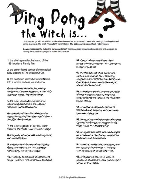 printable games for halloween party witch trivia game do you know these famous witches