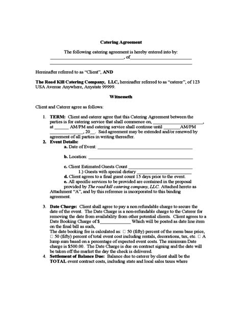 Contract Letter For Catering Catering Agreement Free