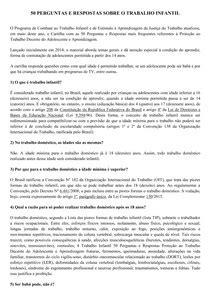 50 PERGUNTAS E RESPOSTAS SOBRE O TRABALHO INFANTIL - Direito d