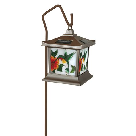 stained glass outdoor light moonrays 92271 hummingbird style solar light stained