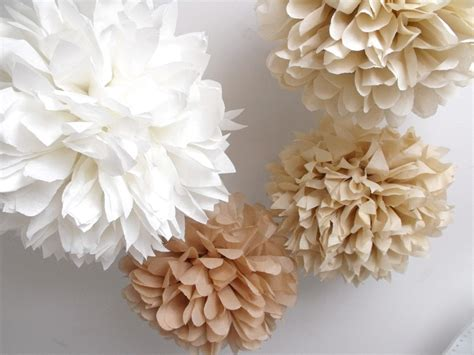 Pom Poms Decorations by Rustic Shabby Chic Decor 10 Poms Barn Wedding By