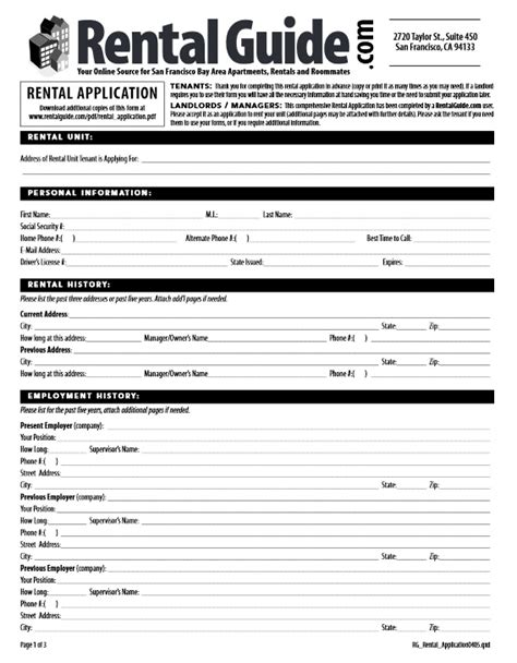 San Francisco Rental Application Template Download Free San Francisco Rental Application Form Printable Lease Agreement
