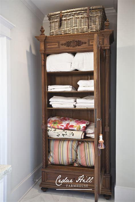 linen armoires antique armoire turned linen closet cedar hill farmhouse