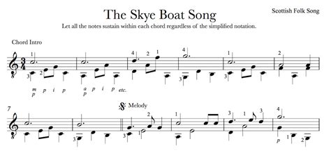 skye boat song music notes the skye boat song outlander theme for easy guitar