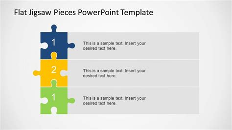 Three Steps Vertical Diagram Using Jigsaw Pieces Slidemodel Jigsaw Template For Powerpoint