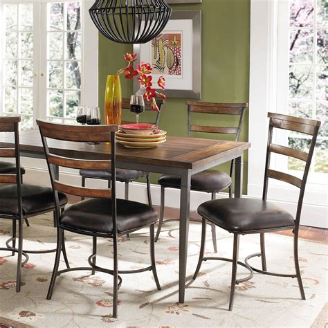 hillsdale cameron 7 rectangle wood and metal dining
