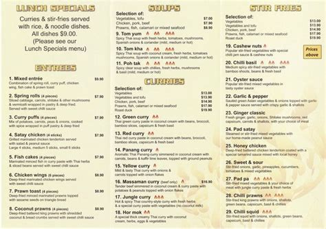 house of thai menu dinner menu picture of thai house takeaway port macquarie tripadvisor