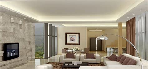 Ceiling Lighting For Living Room Modern Minimalist Living Dining Room Lighting Rendering 3d House