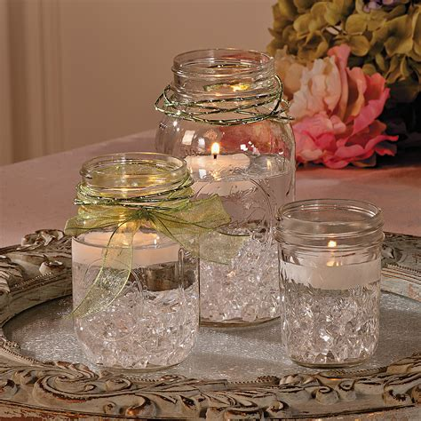Mason Jar Centerpiece Orientaltrading Com Using Blue Jars Wedding Centerpieces
