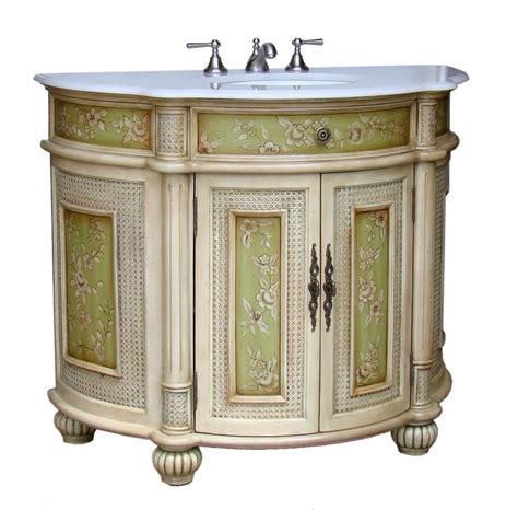 Adelina 48 inch antique hand painted bathroom vanity fully assembled white marble counter top