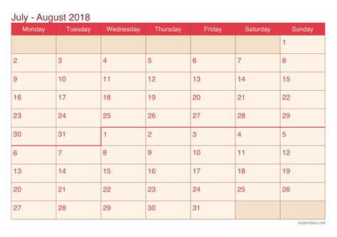 Calendar 2018 July August July And August 2018 Printable Calendar Icalendars Net