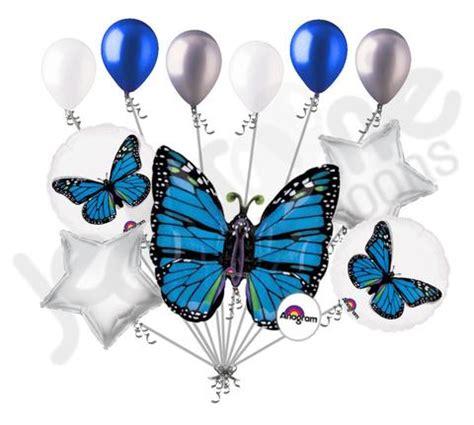Blue monarch butterfly balloon bouquet jeckaroonie balloons