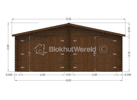 garage 6x6m houten garage zuid 6x6m 44mm blokhutwereld nl