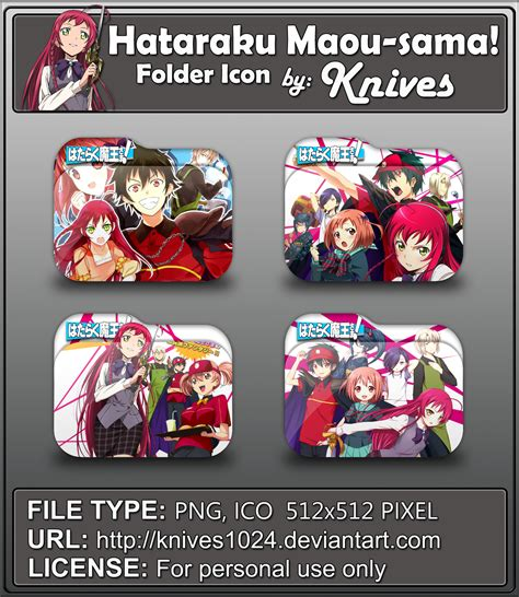 hataraku maou sama anime folder icons by kniv by
