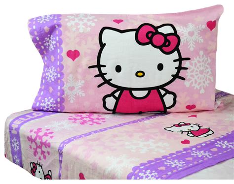 hello kitty twin bed set hello kitty flannel twin sheet set snow ribbons bedding