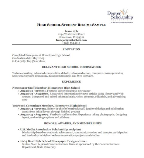 Highschool Resume Template by High School Resume Template 9 Free Word Excel Pdf