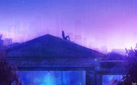 wallpaper anime girl rooftop stars raining buildings