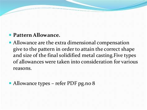 pattern allowances in casting pdf unit 1 manufacturing technology i metal casting process