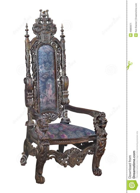 antique fancy carved wooden chair isolated stock photo image
