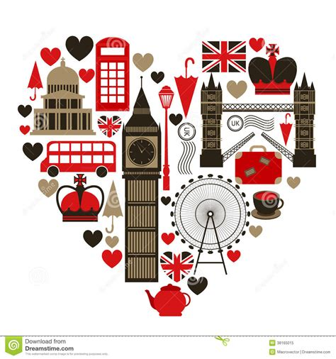 Love London Heart Symbol Stock Vector Image Of Media