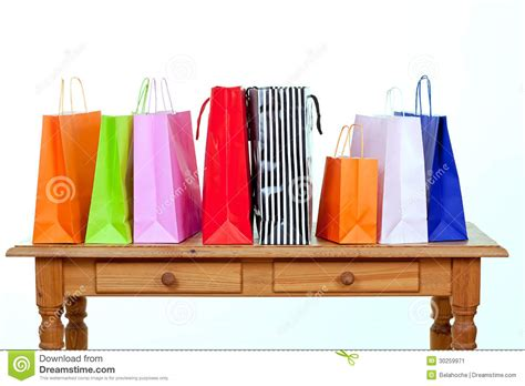 Table Shopping Colorful Shopping Bags On Table Stock Image Image 30259971