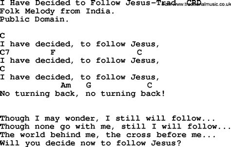 gospel song i decided to follow jesus trad lyrics