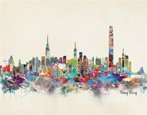 Home Decor Paintings by Hong Kong Skyline Painting By Bleu Bri