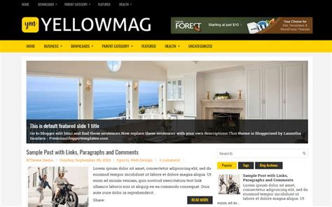 mobile friendly templates for blogger yellowmag mobile friendly responsive blogger template