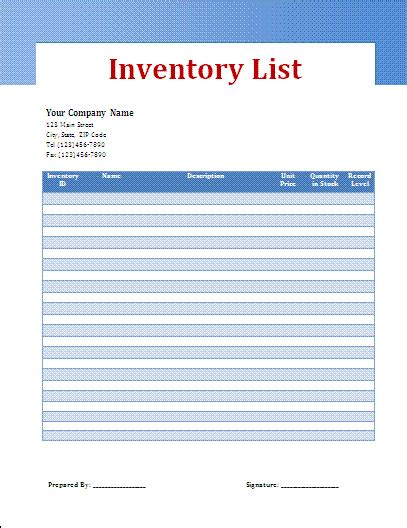 stock list template free business templates