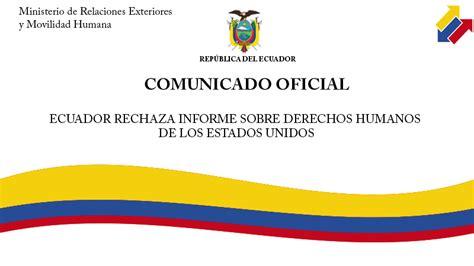 ecuador derechos humanos informes ecuador rechaza informe sobre derechos humanos de los