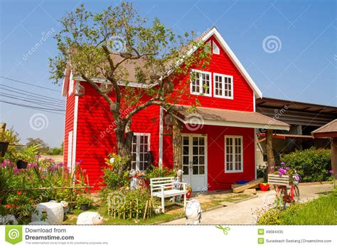 Small Cottage House Plans Small Red House Stock Photo Image 49684435