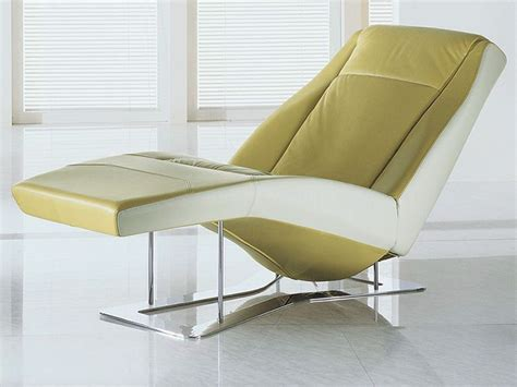 Ethos Modern Chaise Longue In Two Tone Leather With