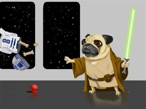 robot pug paintings of dogs dressed as wars characters freakin
