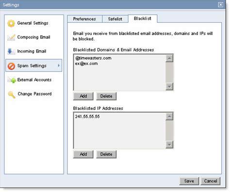 yahoo email blacklist add or delete emails from blacklist roar help desk