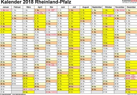Kalender F R 2018 Kalender 2018 Rheinland Pfalz Ferien Feiertage Word